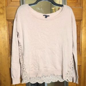 American Eagle Outfitters pink sweater with lace